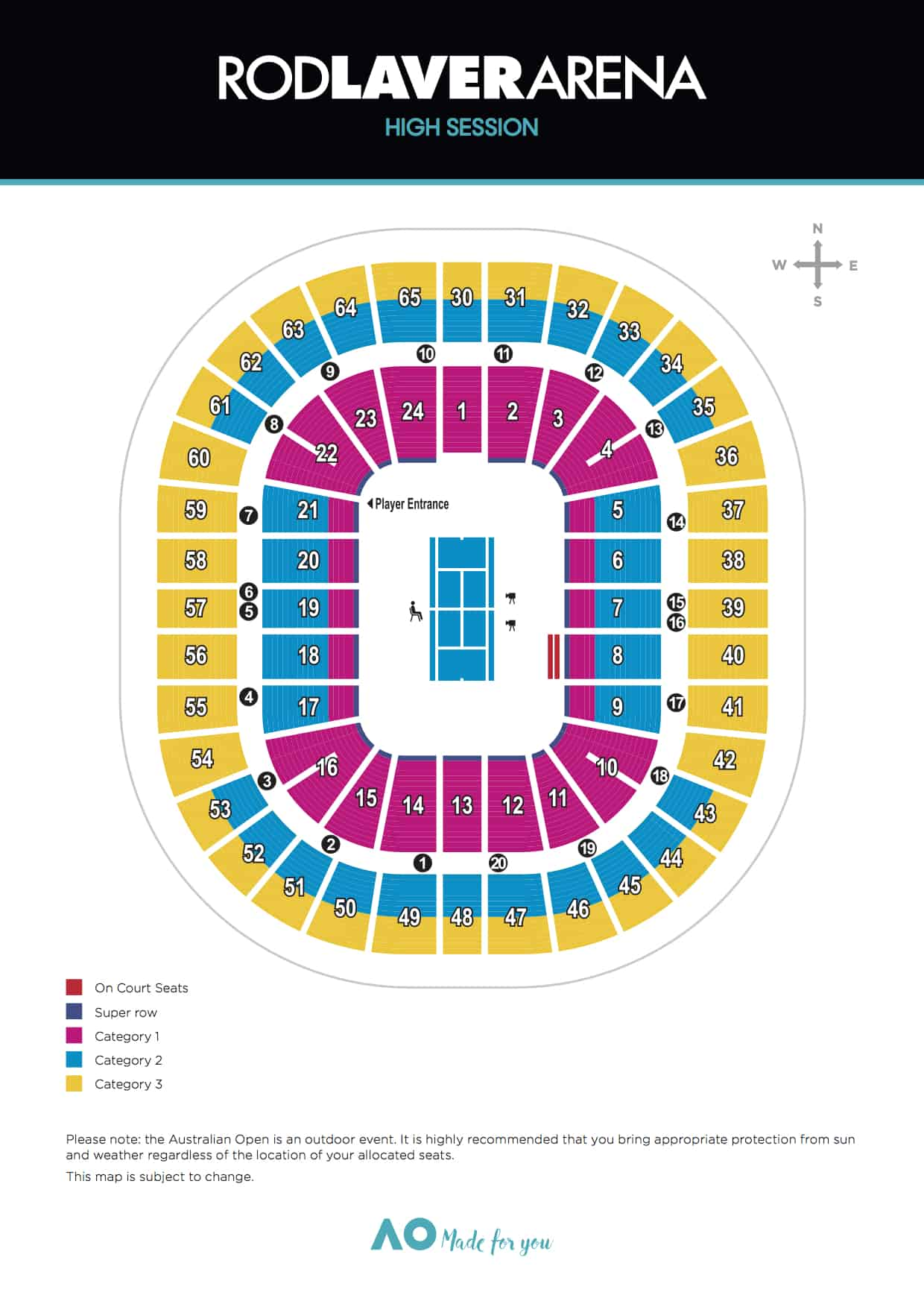 Rod laver arena seating rod laver arena floor plan - View Rod Laver Arena Fri Sun Sessions All Twilight Night Sessions Seating Map