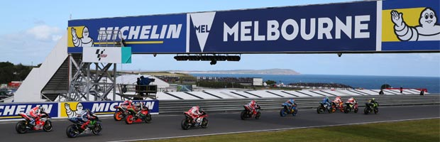 MotoGP riders launch from the start line at the 2016 Australian Motorcycle Grand Prix, Phillip Island