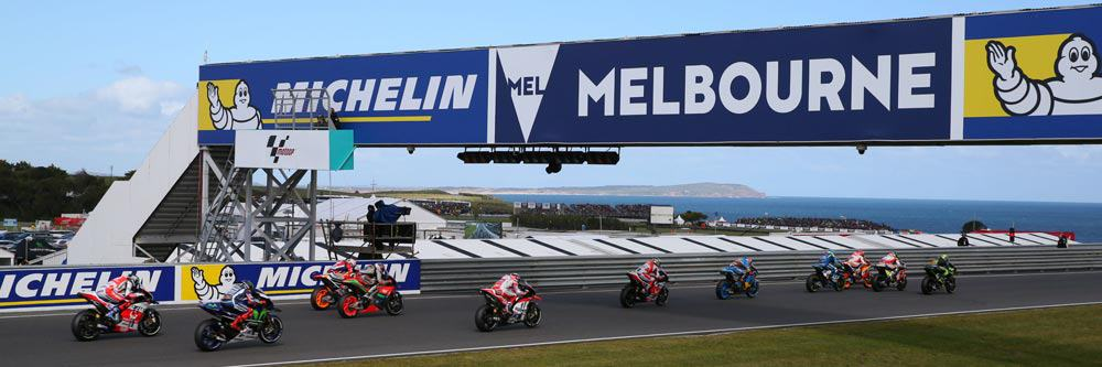 MotoGP bikes launch from the start line at the 2017 Australian MotoGP at Phillip Island