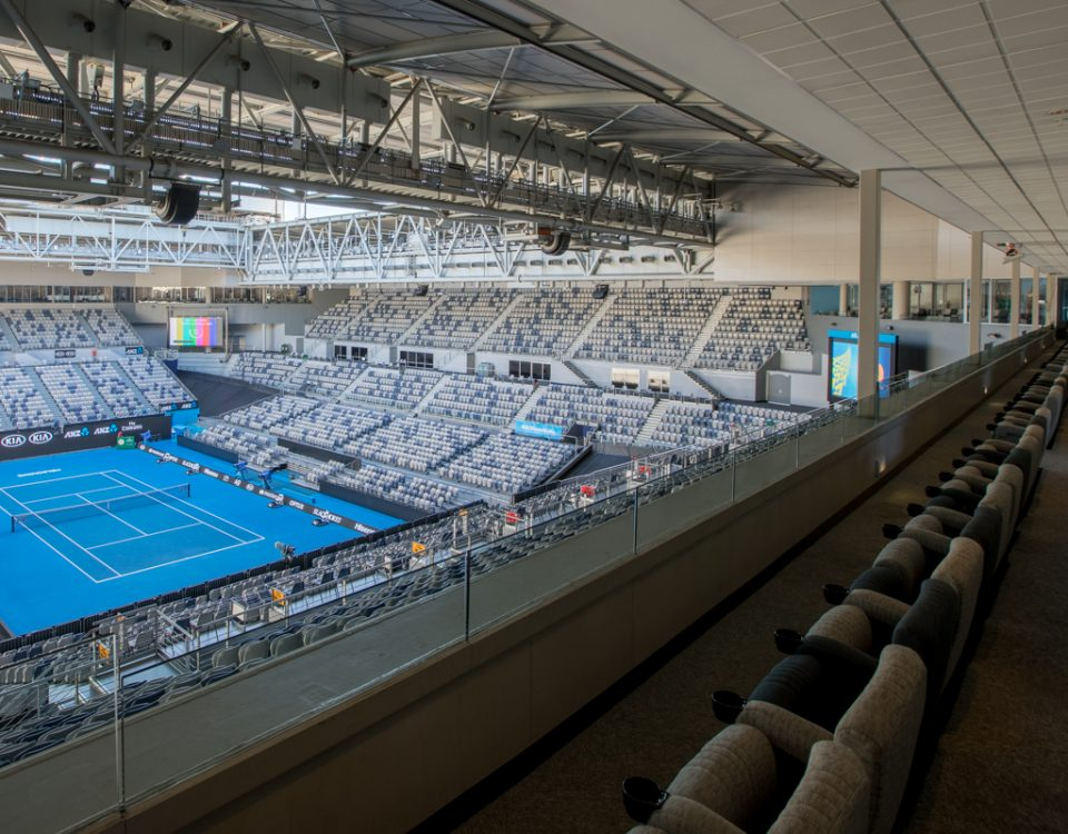 View of the court from the Sportsnet Super Suite in Hisense Arena