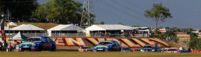 Supercars racing at Hidden Valley Raceway for the Darwin Triple Crown event