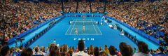Behind the baseline shot inside Perth Arena at the Hopman Cup