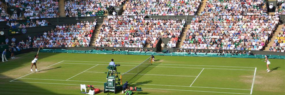 Women's single match on Centre Court at the Wimbledon Championships