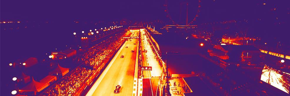 "alt=""Filtered picture of the Singapore Formula 1 track. Picture represent the Singapore Formula 1 Grand Prix 2018"""