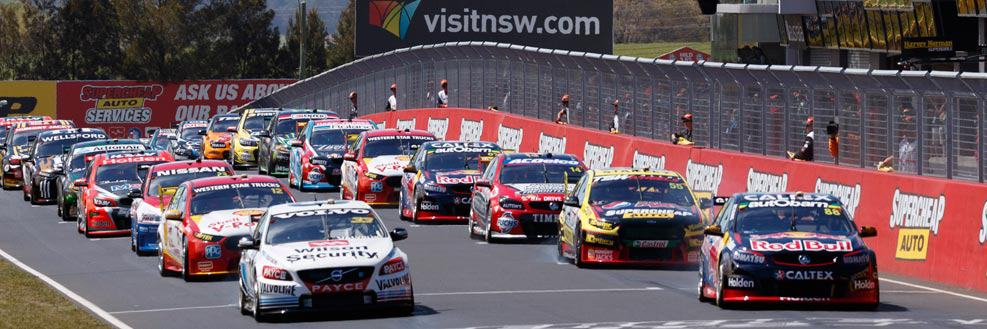 Supercars on the starting grid at the Mount Panorama Circuit for the Supercheap Auto Bathurst 1000. Bathurst 1000 2018 packages by Sportsnet Holidays