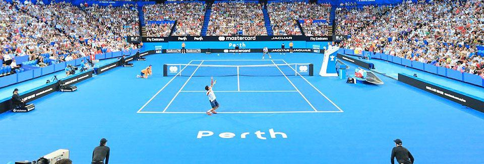 "alt=""Famous tennis players at the Hopman Cup - Hopman Cup 2019 Travel Packages"""