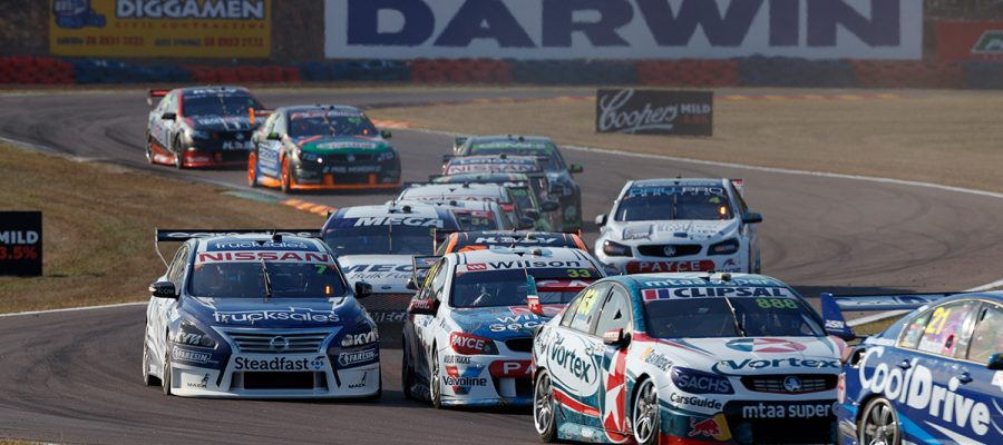 "alt=""V8 Super Cars racing down 2018 CrownBet Darwin Triple Crown, Hidden Valley"""