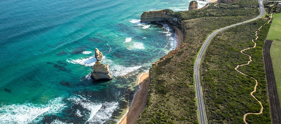 "alt=""Birds Eye View of Twelve Apostles, Great Ocean Road"""