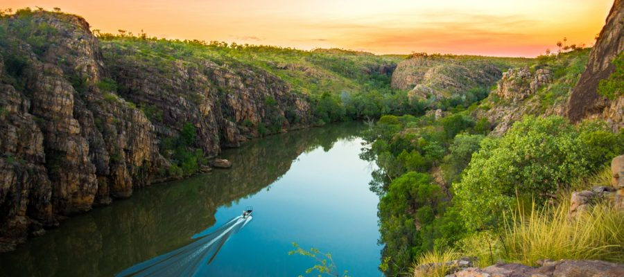 "alt=""Birds eye view of Katherine Gorge"""