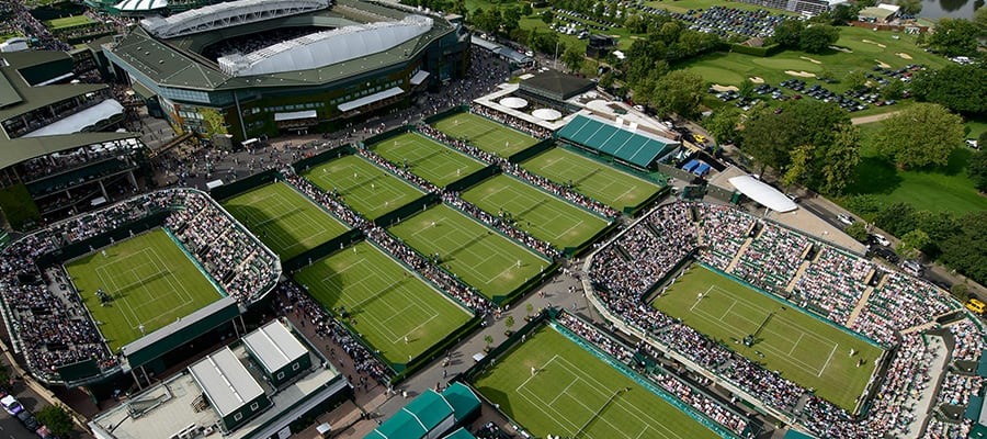"alt=""LONDON - General view of the Wimbledon Lawn Tennis Championship Club in London. """