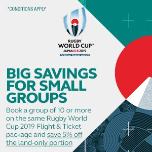 RWC 2019 - Flight and Ticket - Big Savings for Small Groups - Mobile