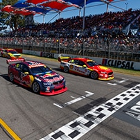 "alt=""V8 Supercars waiting at the starting line for the start of the Adelaide 500"""