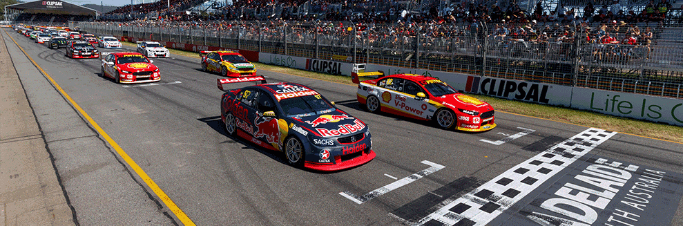 """alt=""""Supercars at the Adelaide 500 lining up to start the race, depicting the start of the Adelaide 500 2019 event"""""""