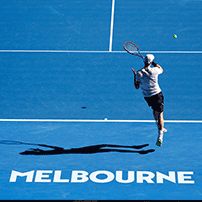 "alt=""Tennis player playing tennis at the Australian Open 2019 - Melbourne Park"""