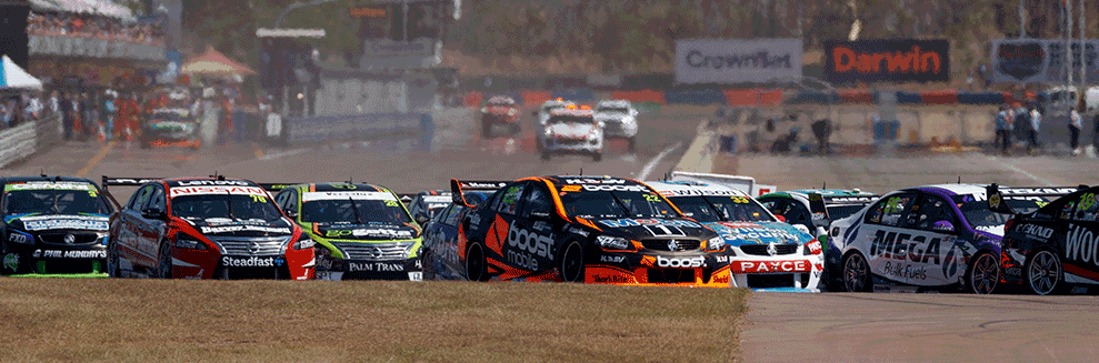 "alt="" V8 Supercars racing though the Hidden Valley Raceway at 2019 CrownBet Darwin Triple Crown"""