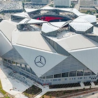 "alt=""Birdseye view of Mercedes Benz Stadium, Atlanta"""