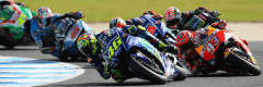 "alt=""Riders turning the corner at the Australian Motorcycle Grand Prix 2018"""