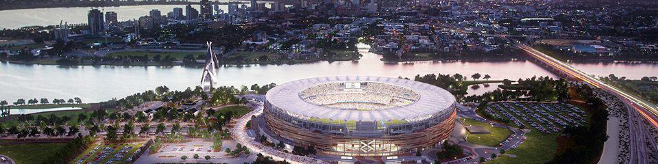 "alt=""Birds eye view of Optus Stadium - State of Origin 2019 Game II, Perth Travel Packages"""