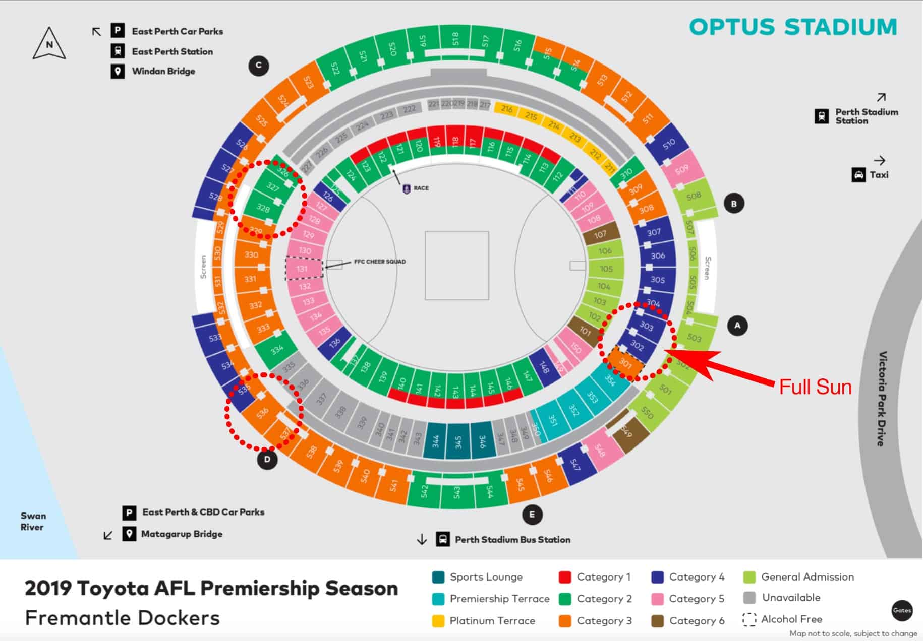 Optus Stadium Map - Fremantle Dockers