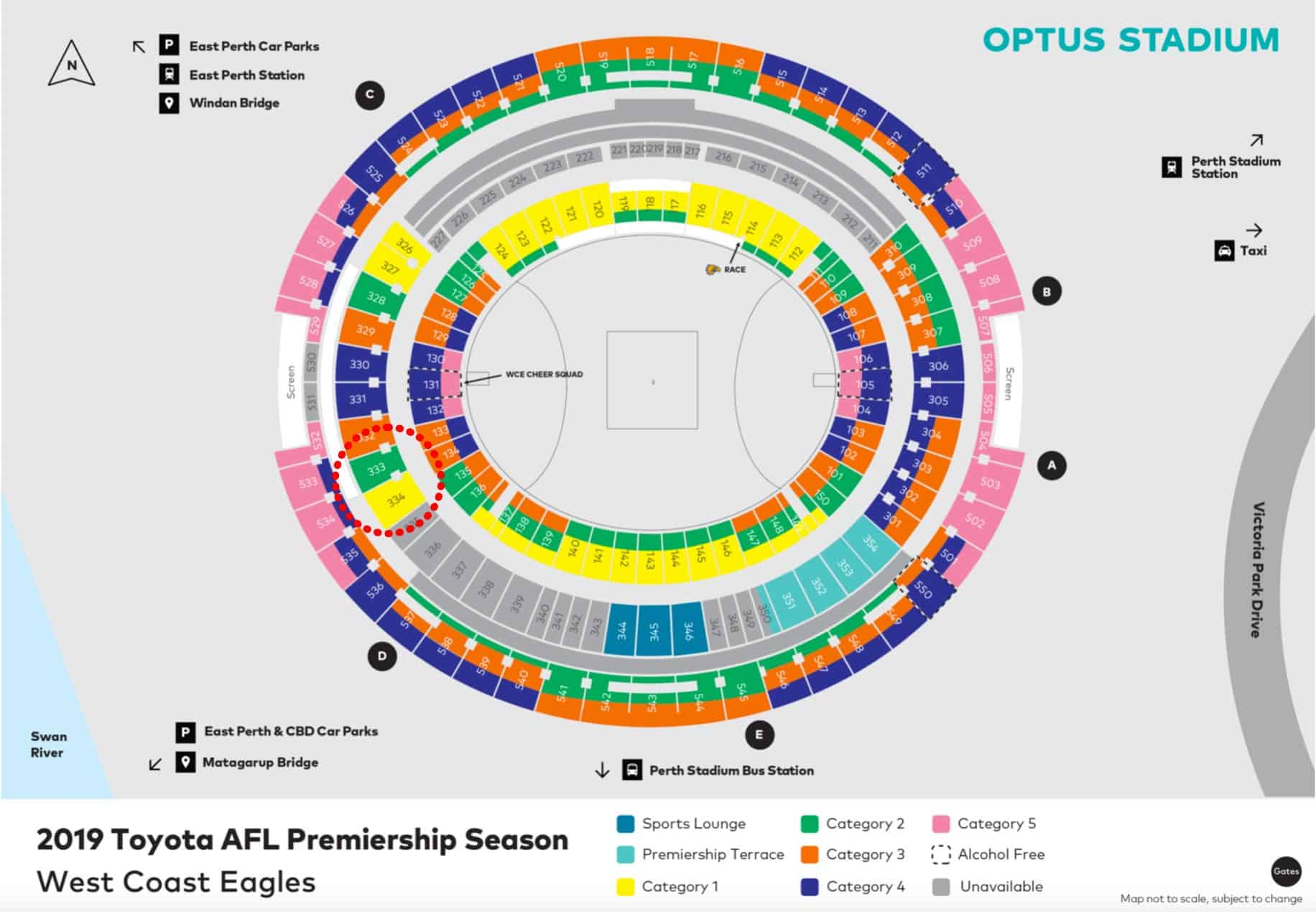 Optus Stadium Map - West Coast Eagles