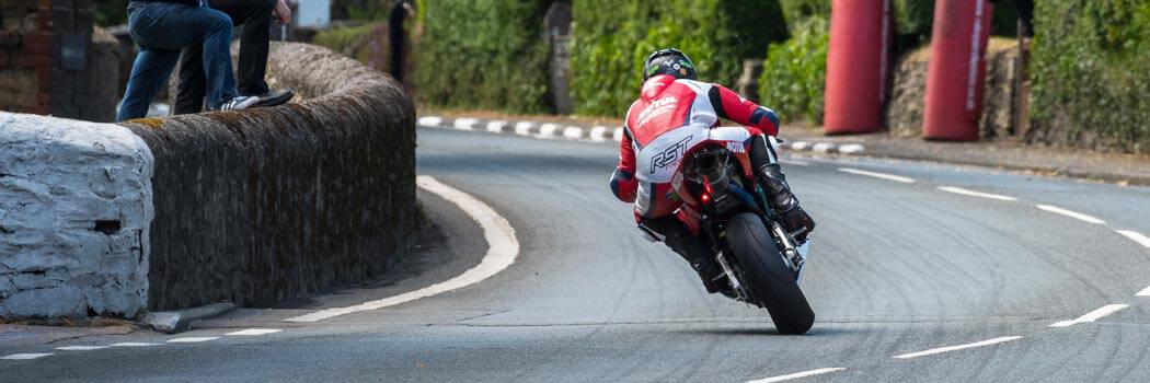 Davo Johnson taking a corner at the Isle of Man TT 2020