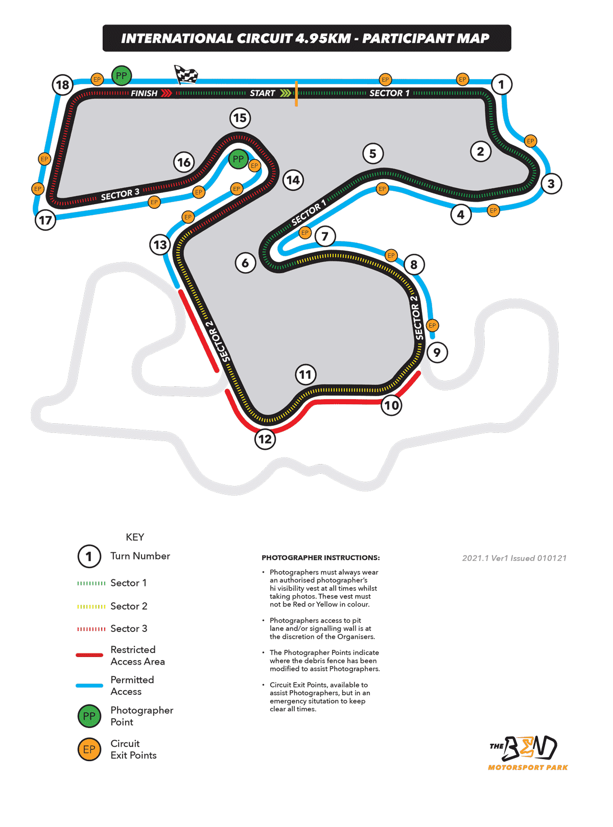 The Bend circuit - Track map
