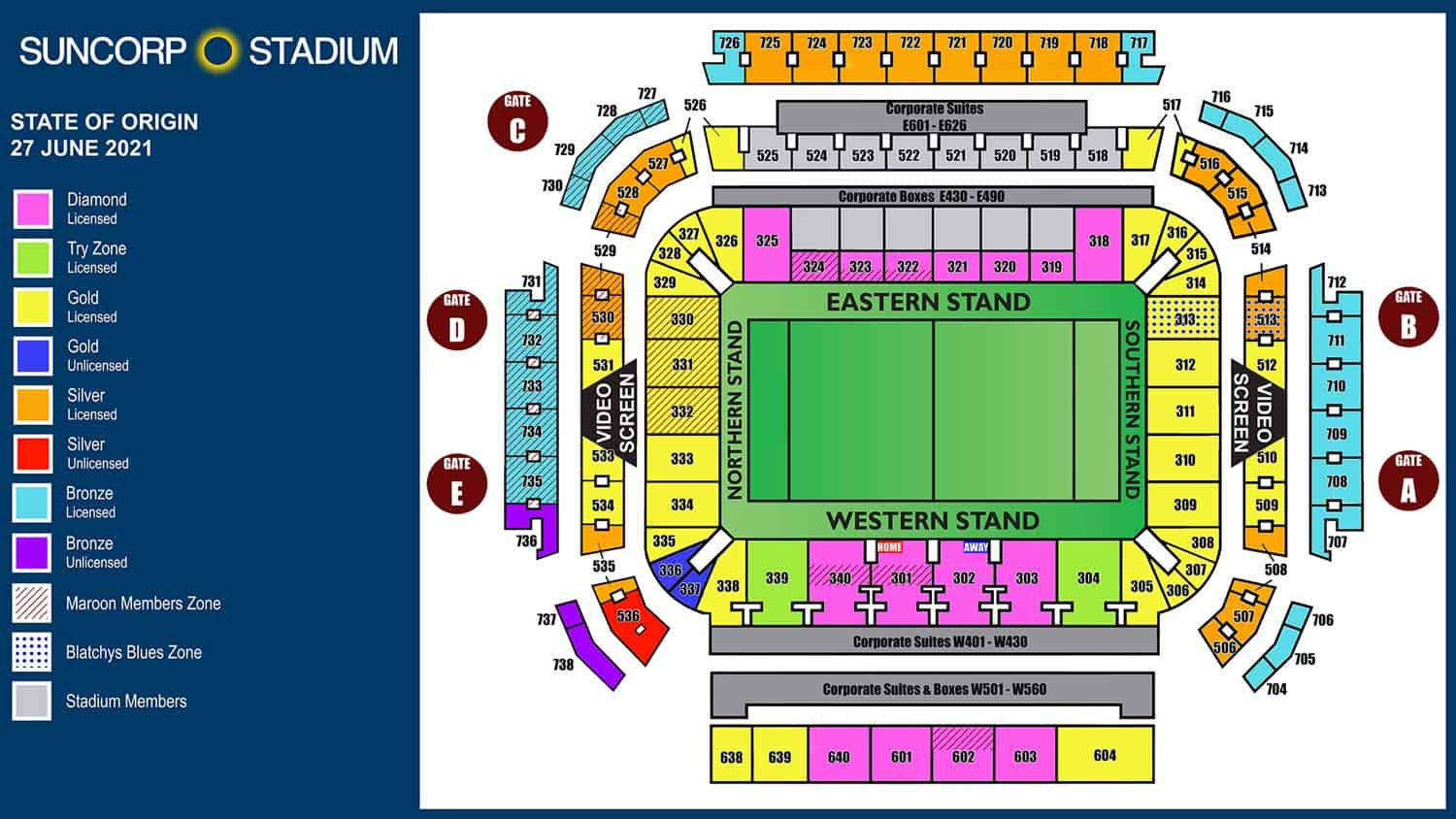 Ampol State of Origin Game II Brisbane Sunscorp Stadium Venue Map