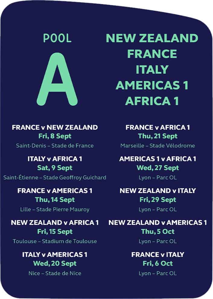 Rugby World Cup 2023 - POOL A - Match Schedule Planner