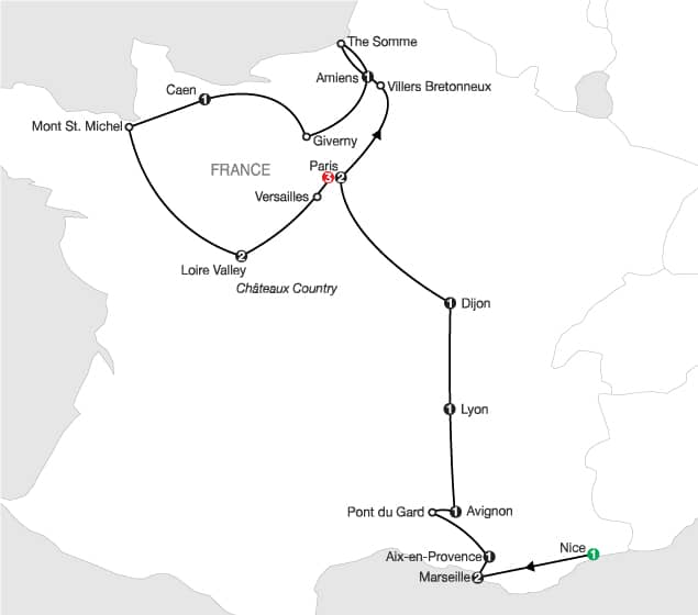 All Finals Tour – QF 1 & 3 – South of France Itinerary Map