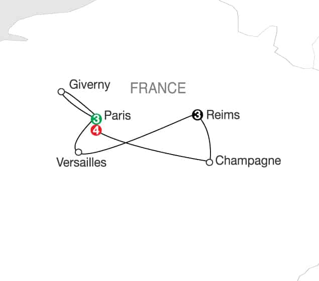 Semi Finals and Finals Tour – Paris and Champagne Region Itinerary Map